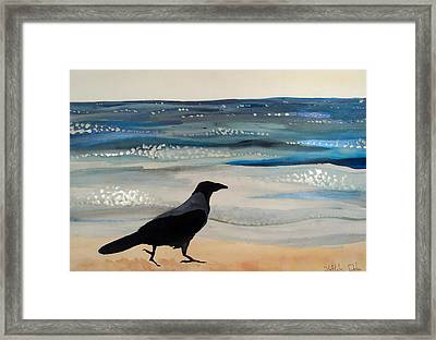 Hooded Crow At The Black Sea By Dora Hathazi Mendes Framed Print by Dora Hathazi Mendes