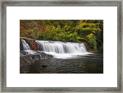 Hooker Falls In Autumn - Dupont State Forest Nc Framed Print by Dave Allen