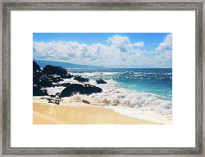 Hookipa Beach Maui Hawaii Framed Print by Sharon Mau