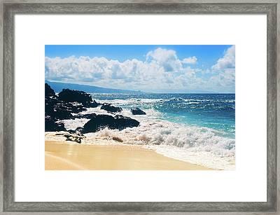 Framed Print featuring the photograph Hookipa Beach Maui Hawaii by Sharon Mau