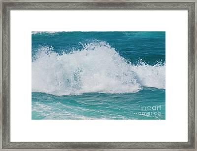 Hookipa Splash Waves Beach Break Shore Break Pacific Ocean Maui  Framed Print by Sharon Mau