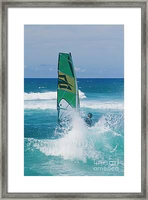 Hookipa Windsurfing North Shore Maui Hawaii Framed Print by Sharon Mau
