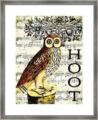 Hoot Framed Print by John K Woodruff