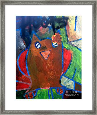 Framed Print featuring the painting Hoots The Fall Owl by Janelle Dey