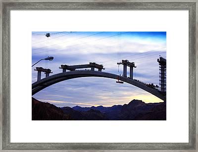 Hoover Dam Bridge Under Construction Framed Print by Barbara Teller