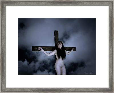 Hope And Cross Framed Print by Ramon Martinez