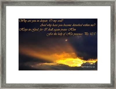 Hope In God Framed Print by Thomas R Fletcher