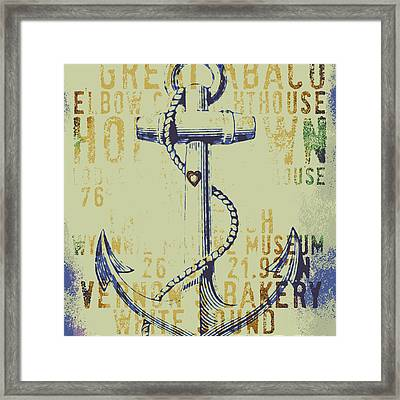 Hope Town Anchor Framed Print by Brandi Fitzgerald