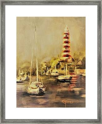Hope Town Harbor Vintage Framed Print