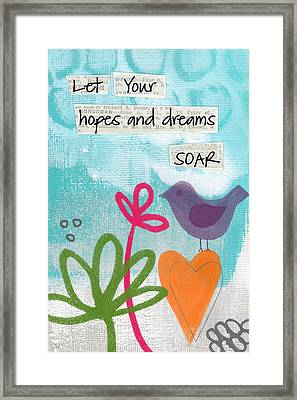 Hopes And Dreams Soar Framed Print by Linda Woods