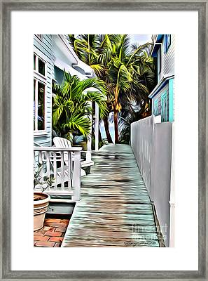 Hopetown Walkway Framed Print by Carey Chen