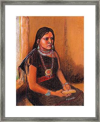 Hopi Girl Framed Print by Barbara Lowe