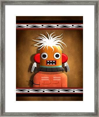 Framed Print featuring the digital art Hopi Indian Kachina by John Wills