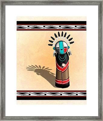 Framed Print featuring the digital art Hopi Sun Face Kachina by John Wills