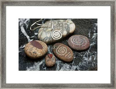 Hopi Wheel In Stone And Metal Framed Print