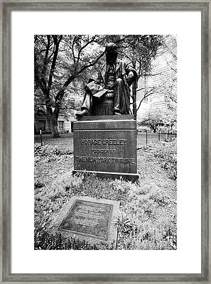 Horace Greeley Founder Of The New York Tribune Monument And Joseph Pulitzer Tablet In City Hall Park Framed Print