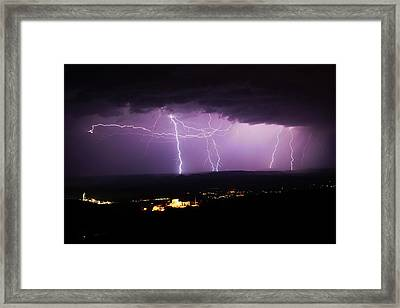Framed Print featuring the photograph Horizontal And Vertical Lightning by Ron Chilston