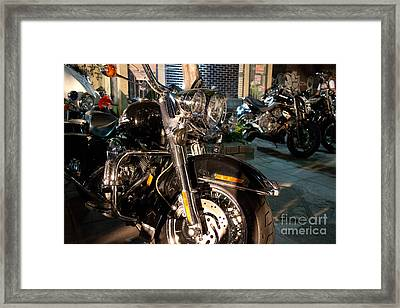 Horizontal Front View Of Fat Cruiser Motorcycle With Chrome Fork Framed Print