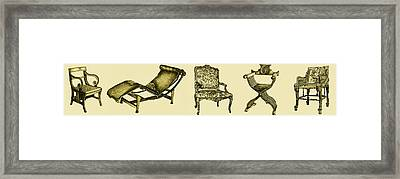 Horizontal Poster Of Chairs In Sepia Framed Print by Adendorff Design
