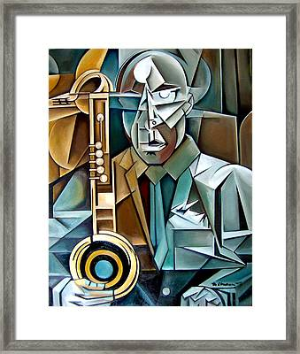 Horn And Man Framed Print by Martel Chapman