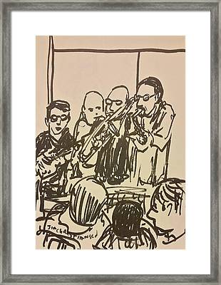 Horn Section Blue Monday Framed Print by James Christiansen