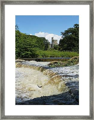 Hornby Castle With Sea Trout Leaping  Framed Print