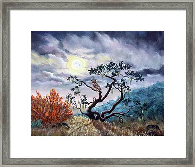 Horned Owl On Moonlit Oak Tree Framed Print