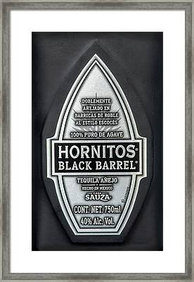 Hornitos Black Barrel Tequila Label Framed Print