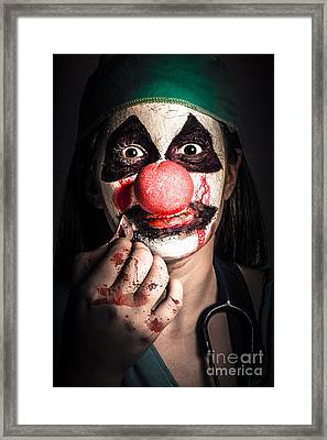 Horror Clown Girl In Silence With Stitched Lips Framed Print