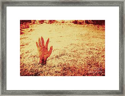 Horror Hand Of A Zombie Awakening Framed Print