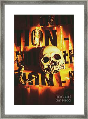 Horror Skulls And Warning Tape Framed Print by Jorgo Photography - Wall Art Gallery