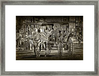 Horse And Buggy Framed Print by Randall Nyhof