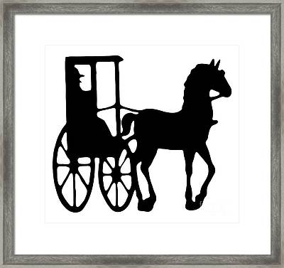 Horse And Buggy Vector Framed Print by Roger Witmer