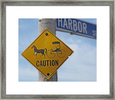 Horse And Carriage Caution Framed Print