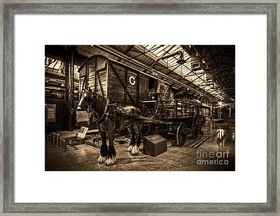 Horse And Cart Loading Train Framed Print