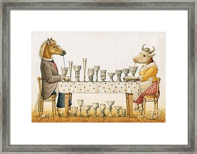 Horse And Cow Framed Print by Kestutis Kasparavicius