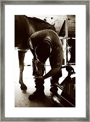Horse And Farrier Framed Print by Angela Rath