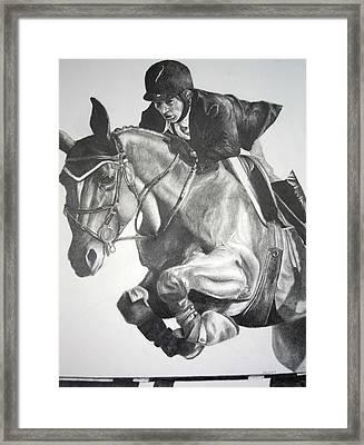 Horse And Jockey Framed Print by Darcie Duranceau