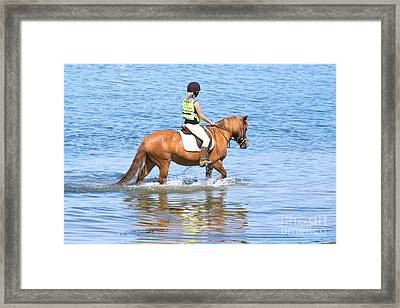 Horse And Rider In The Sea Framed Print by Terri Waters