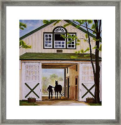 Horse Barn Framed Print by Michael Lewis