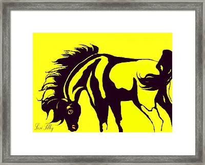 Framed Print featuring the digital art Horse-black And Yellow by Loxi Sibley