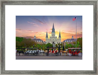 Horse Carriage At Jackson Square Framed Print by Art Spectrum