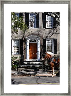 Horse Carriage In Charleston Framed Print by Susanne Van Hulst