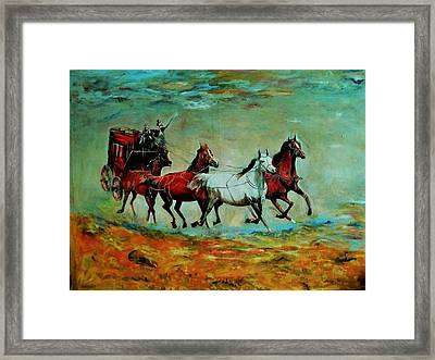 Horse Chariot Framed Print by Khalid Saeed