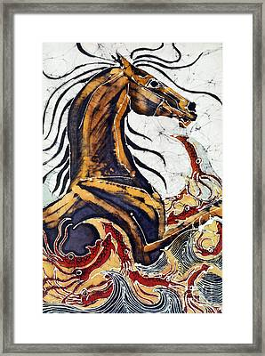 Horse Dances In Sea With Squid Framed Print