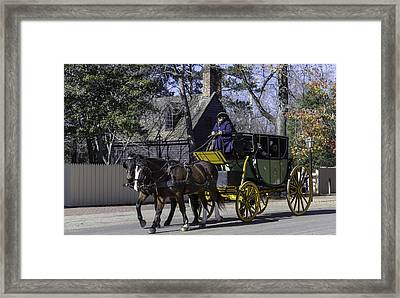 Horse Drawn Carriage In Colonial Williamsburg Framed Print by Teresa Mucha