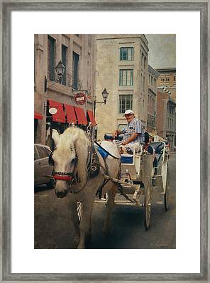 Horse Drawn Carriage - Old Montreal Framed Print by Maria Angelica Maira