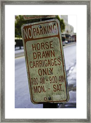 Horse Drawn Carriage Parking Framed Print