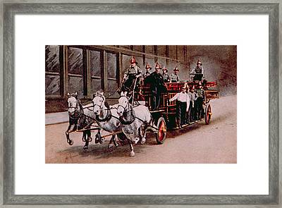 Horse-drawn Fire Engine On The Way Framed Print by Everett