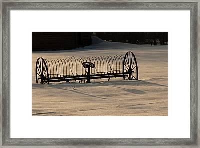 Framed Print featuring the photograph Horse Drawn Hay Rake by Daniel Hebard